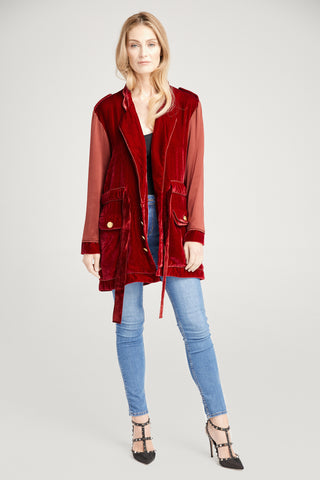 Kingsley Blood Red Velvet Jacket, Outerwear
