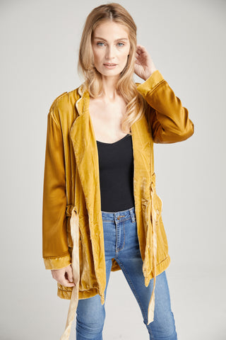 Kingsley Antique Gold Velvet Jacket, Outerwear