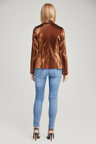 Arya Metallic Copper Blazer, Outerwear