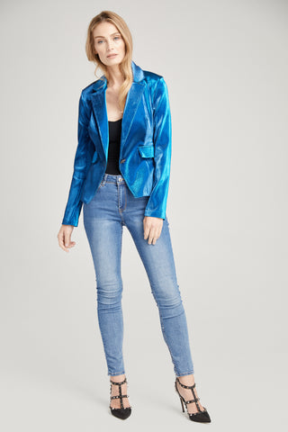 Arya Metallic Blue Blazer, Outerwear