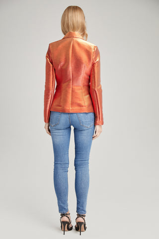 Arya Metallic Orange Blazer, Outerwear