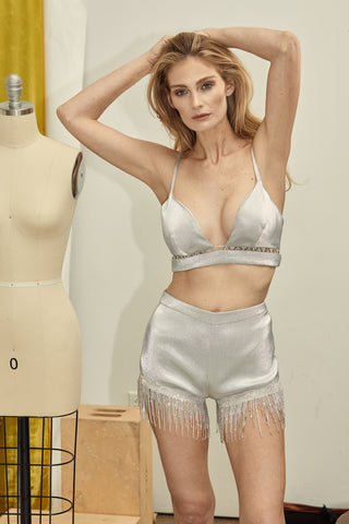 ADEE CRYSTAL METALLIC BRALET, Tops