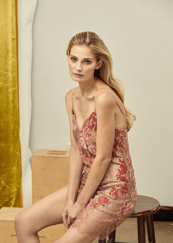 AMELIA VELVET LACE SLIP DRESS, Dress