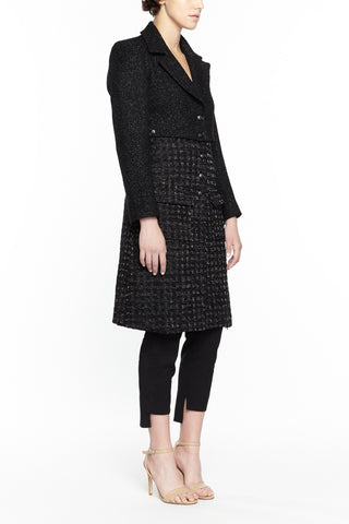 COCO BLACK TWILL AND TWEED JACKET, Outerwear