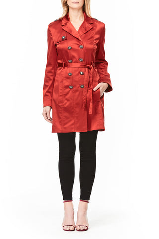 RED SILK AVA TRENCH COAT, Outerwear
