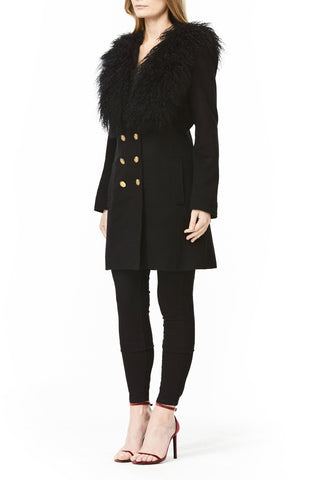 BLACK WOOL SERENA COAT, Outerwear