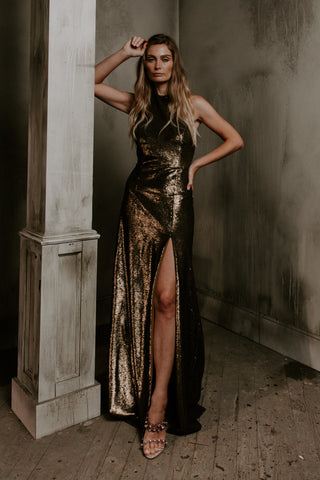 Golden Liquid Sequin Gown