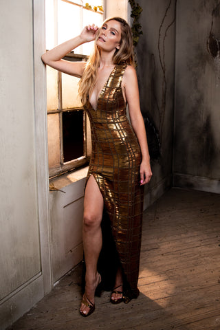 Jule Deep V Golden Sequin and Bead Gown