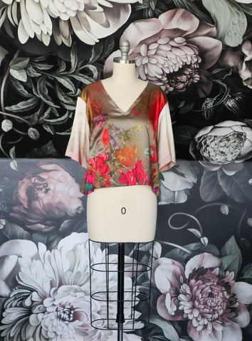 Silk Ombre Flower Crop Blouse