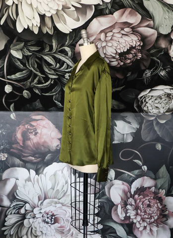 Army Green Silk Andrea Blouse