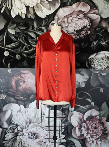 Burnt Orange Silk Andrea Blouse