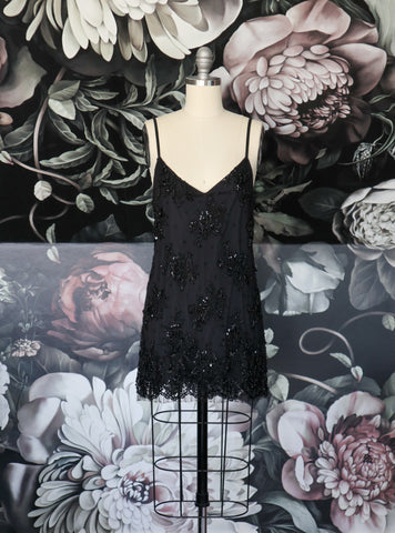 AMELIA BEADED LACE SLIP DRESS