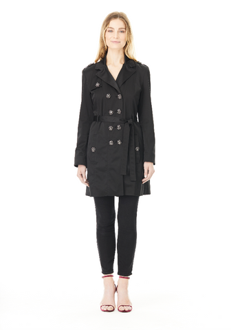 BLACK SILK AVA TRENCH COAT, Outerwear