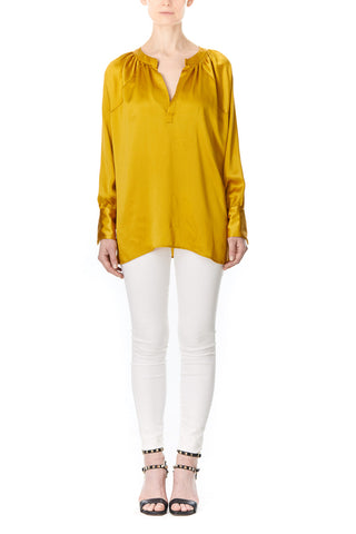 GOLDEN SILK CHARMEUSE SOFIA BLOUSE, Blouses