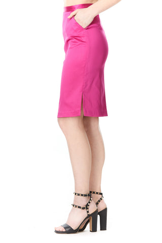 PINK SILK CARLA PENCIL SKIRT, Skirts
