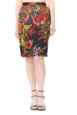 FLORAL SILK CARLA PENCIL SKIRT, Skirts
