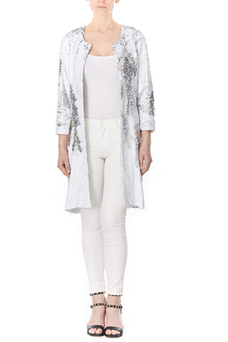 SILVER SEQUIN BROOKLYN COAT, Outerwear