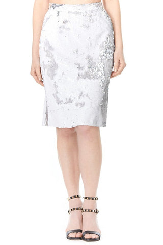 SILVER SEQUIN CARLA PENCIL SKIRT, Skirts