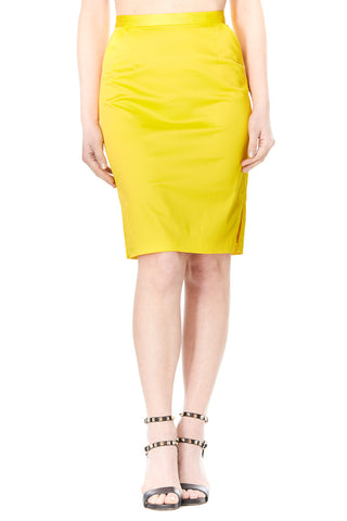 YELLOW SILK CARLA PENCIL SKIRT, Skirts