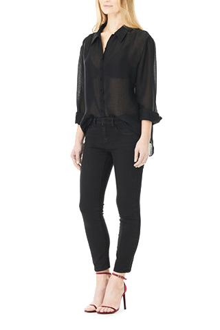 Black Double Silk Chiffon Sheer Andrea Blouse, Blouses
