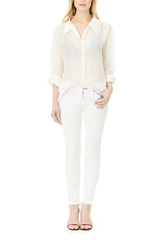 Cream Double Silk Chiffon Sheer Andrea Blouse, Blouses