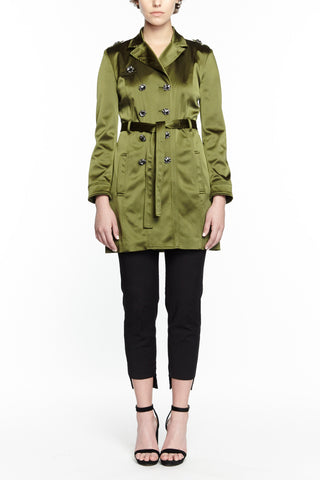 GREEN SILK AVA TRENCH COAT,