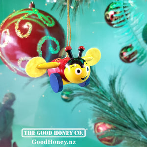 "Christmas tree decoration buzzybee small bee hanging ornament ""good honey"""