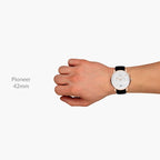 Pioneer - BUNDLE Black Dial Silver | Brown Leather / Black Leather / Silver Mesh Strap