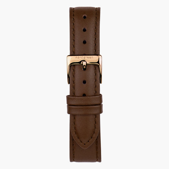 Brown Leather Watch Strap - Rose Gold - 16mm