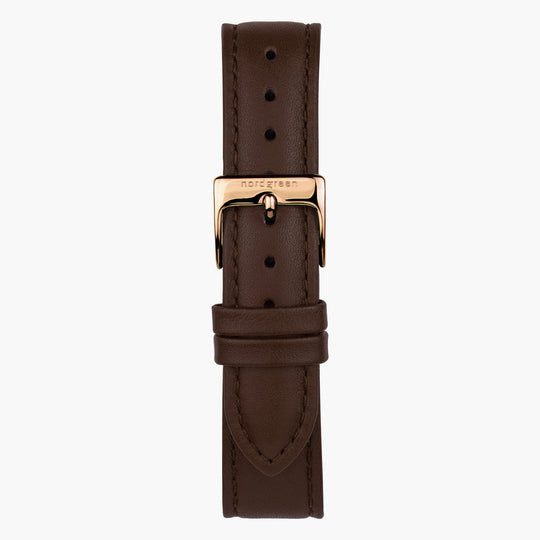 Dark Brown Leather Watch Strap - Rose Gold - 16mm