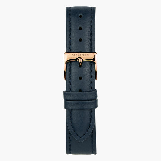 Navy Blue Leather Watch Strap - Rose Gold - 32mm