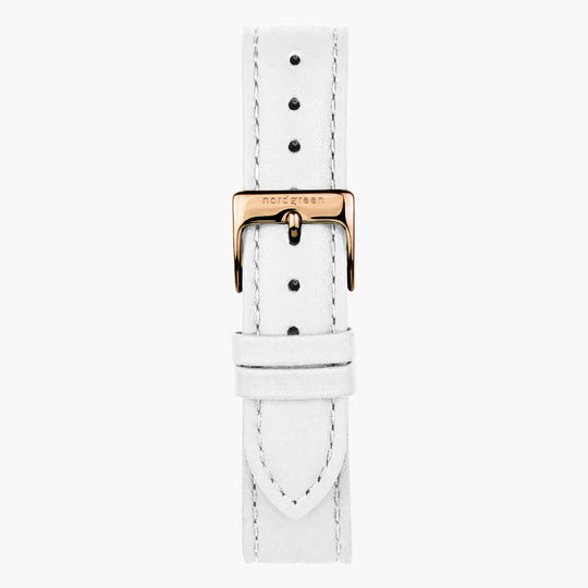White Leather Watch Strap - Rose Gold - 36mm