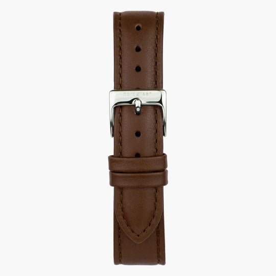Brown Leather Watch Strap - Silver -32mm