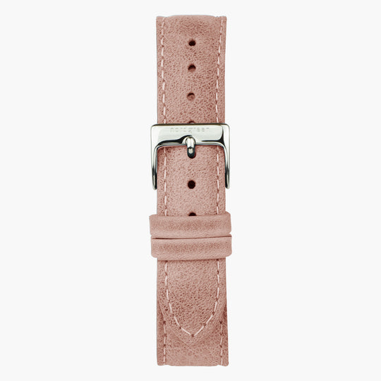 Pink Leather Watch Strap - Silver - 36mm
