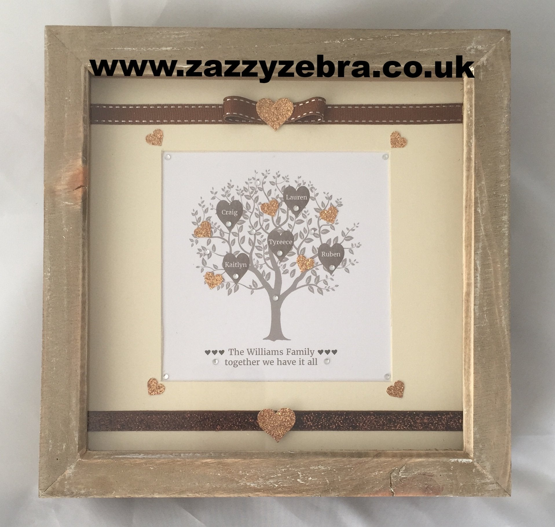Personalised Bronze Family Tree Embellished Deep Box Frame Wooden Frame