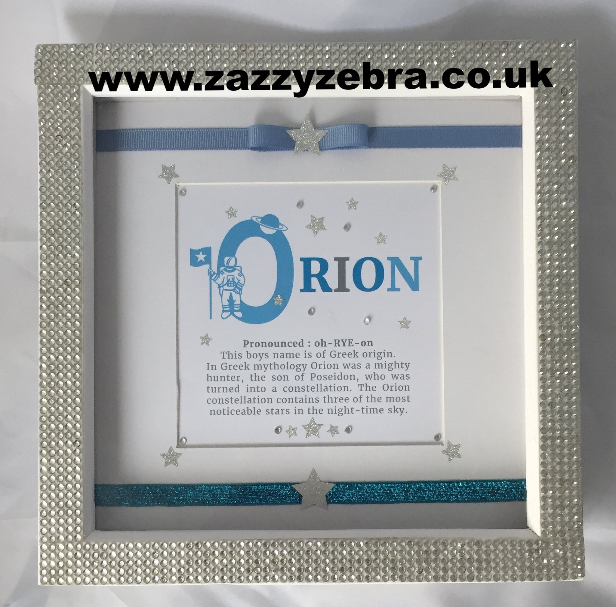 Personalised Astronaut Name Meaning Embellished Deep Box Frame Blue ...
