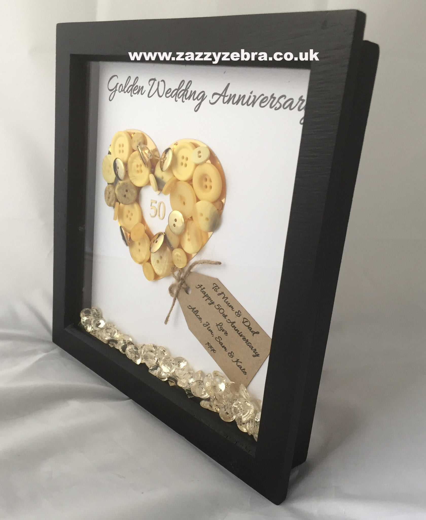 Personalised Embellished Golden Heart 50th Wedding Anniversary With