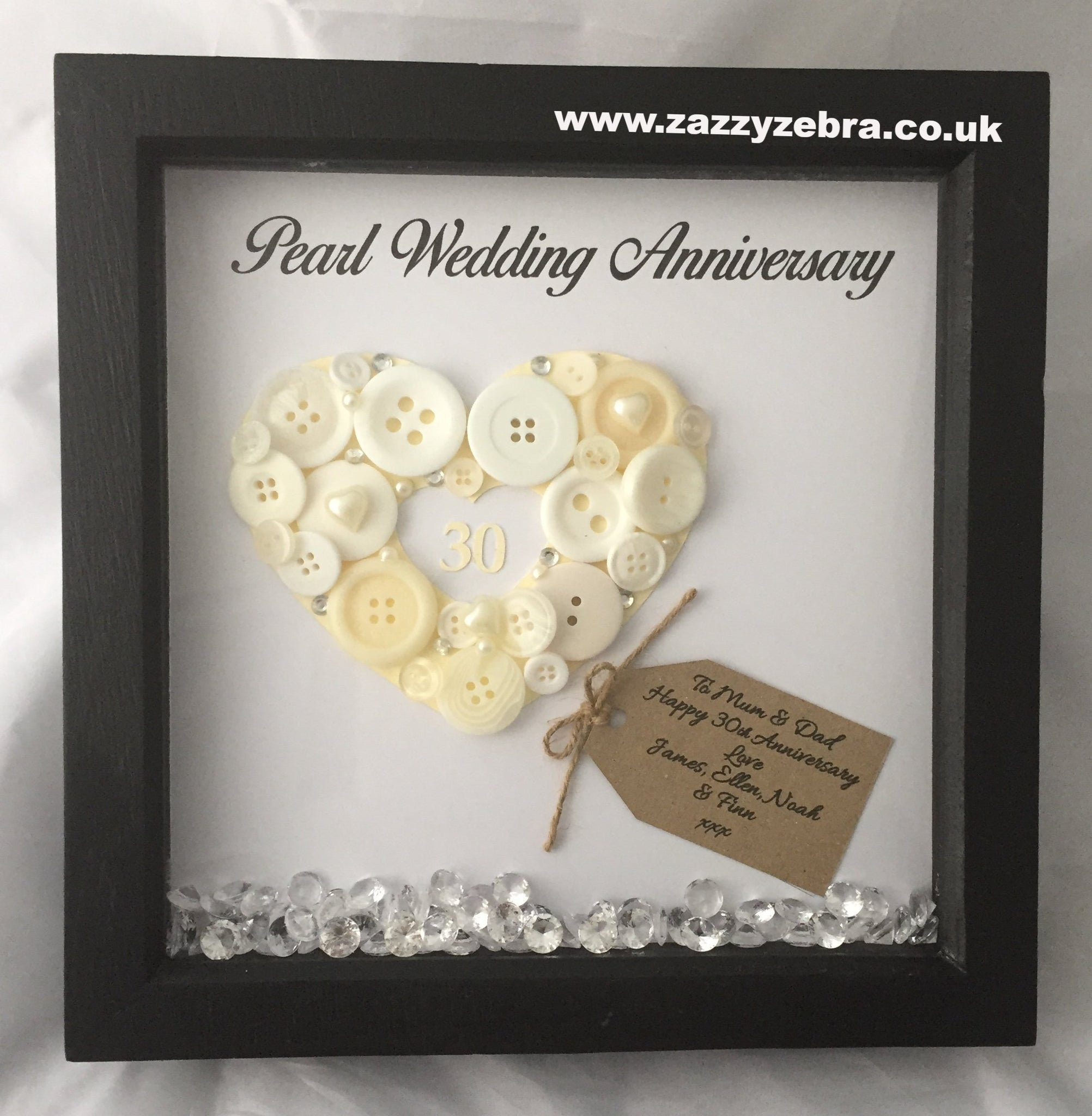 Personalised Embellished Pearl Heart 30th Wedding Anniversary with ...