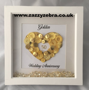 Embellished Golden Heart 50th Wedding Anniversary Deep Box Frame