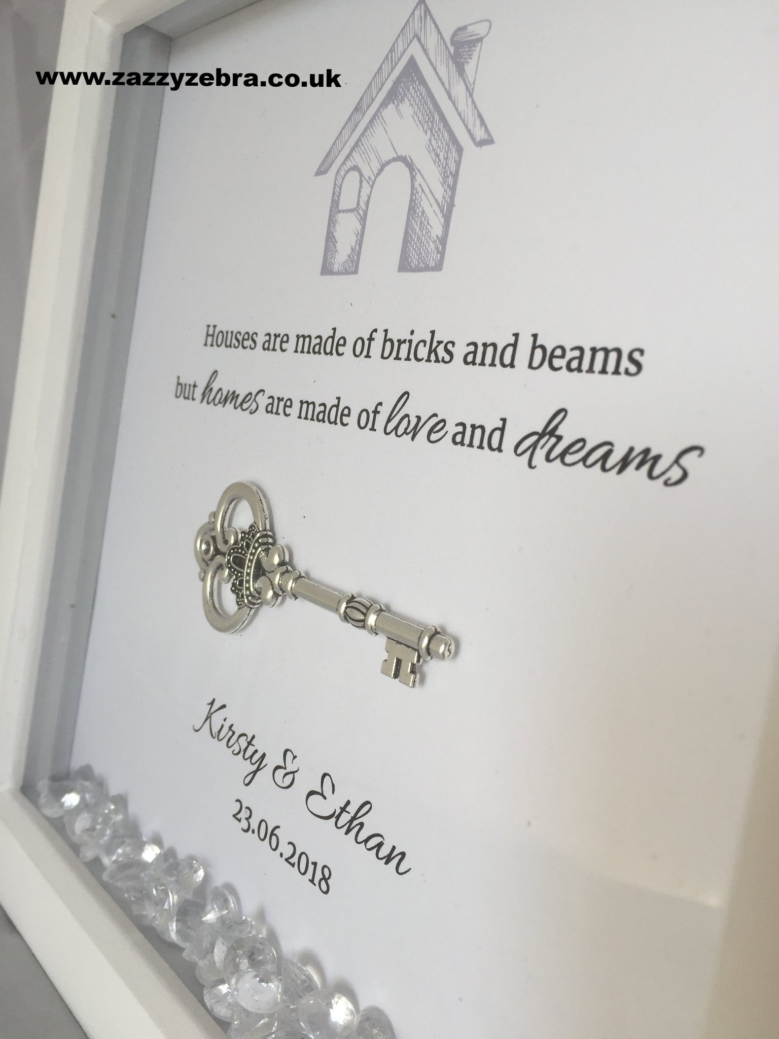 Personalised New Home Key And Quote Embellished Deep Box ...
