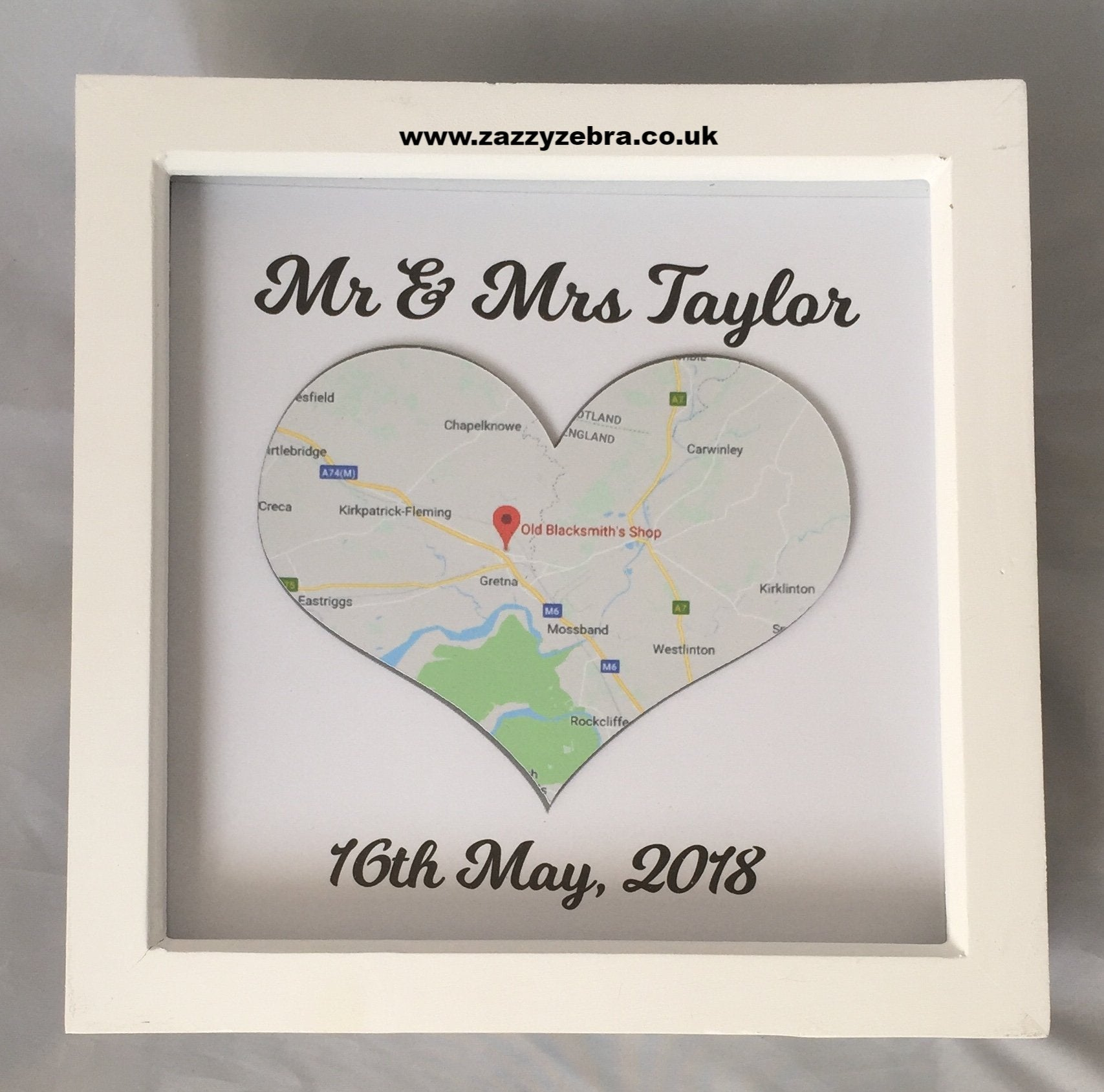 Personalised Heart Shaped Map Wedding Location Deep Box Frame ...