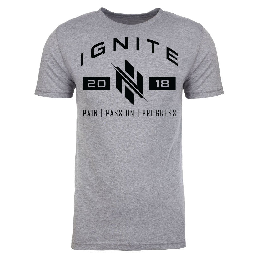 Heather Grey Pain, Passion, Progress T-Shirt (intl) - Ignite Nutrition
