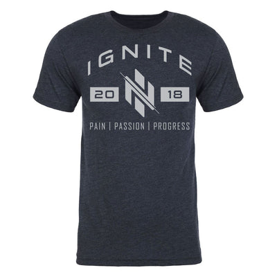 Navy T-Shirt with Established 2018 and Pain-Passion-Progress - Ignite Nutrition