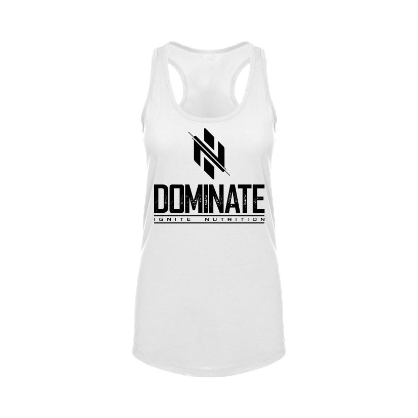 Womens White Dominate Tank - Ignite Nutrition