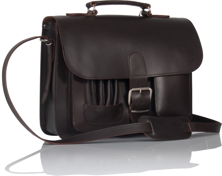 MAYFAIR VEGETABLE TANNED DARK BROWN LEATHER SMALL SATCHEL / BACKPACK