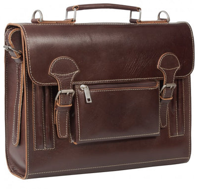 HIDEONLINE VINTAGE CONKER BROWN BRIDLE LEATHER SLIMLINE SATCHEL BACKPACK