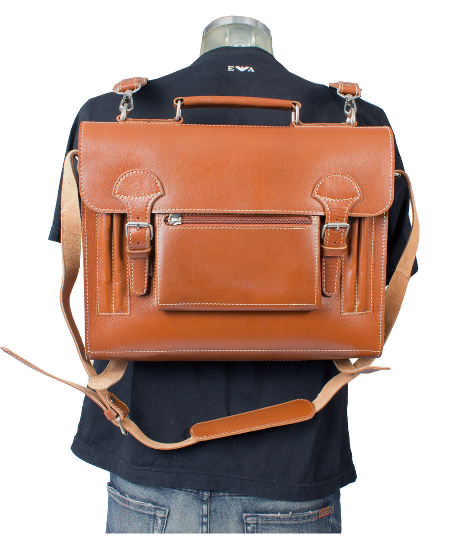 HIDEONLINE VINTAGE TAN BRIDLE LEATHER SLIMLINE SATCHEL BACKPACK