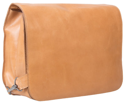 UBERBAG TAN REAL LEATHER LARGE MESSENGER BAG / MAN BAG