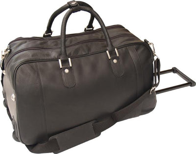 HIDEONLINE BLACK ITALIAN LEATHER TROLLEY HOLDALL DUFFLE GYM BAG