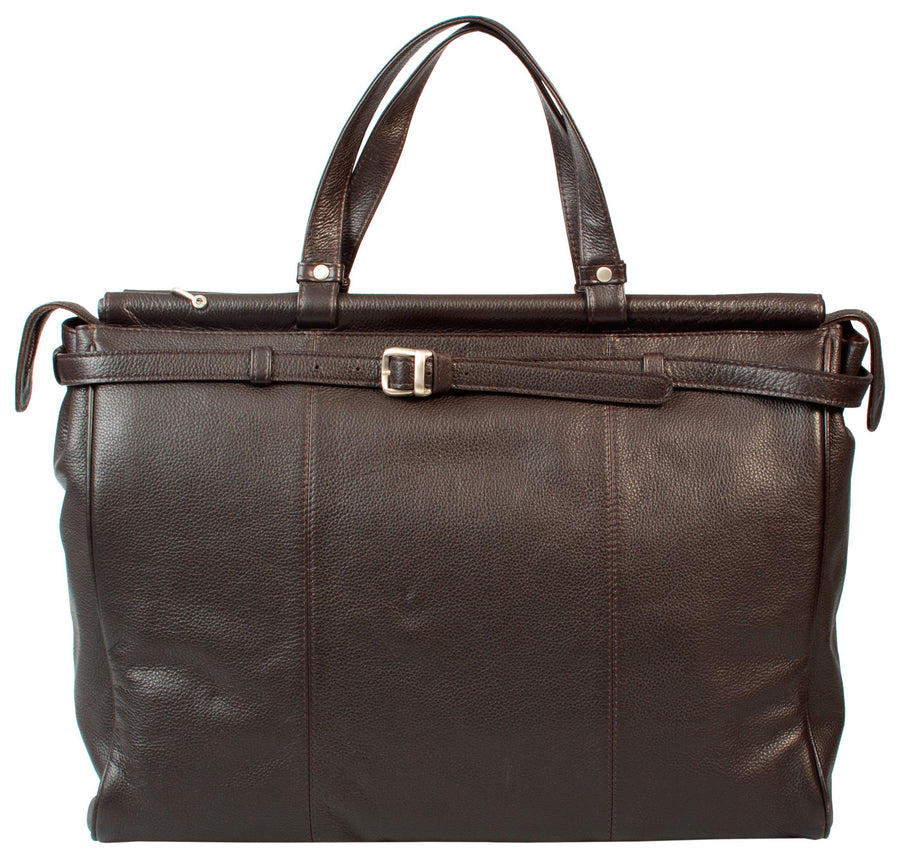 HIDEONLINE BROWN LEATHER TOP ROD HOLDALL / DUFFLE / CABIN BAG